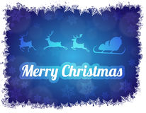 Merry Christmas illustration of Santa Claus with sleigh and three reindeers. Blue background Royalty Free Stock Photography