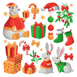 Merry Christmas illustration. Set of Merry Christmas illustrations with polar bear, rabbits, balls, candies, gifts, mistletoe and sock etc Stock Photo
