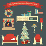Merry Christmas illustration with shelter living room. And new year symbols, tree, presents, socks. Fully editable vector illustration. Perfect for greeting Stock Photos