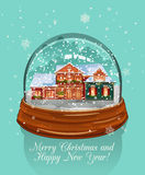 Merry Christmas illustration. Snow glass ball. Snowy town at holiday eve.  Royalty Free Stock Images