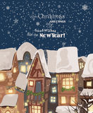 Merry Christmas illustration. Snowy town at holiday eve. Merry Christmas and Happy New Year greeting card Stock Photography