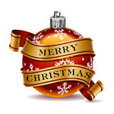 Merry Christmas. An illustration of a Christmas tree decoration and banner containing the words Merry Christmas