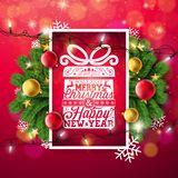 Merry Christmas Illustration with Typography and Holiday Light Garland, Pine Branch, Snowflakes and Ornamental Ball on stock illustration