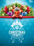 Merry Christmas illustration with typography and ornament decoration on blue snowflake texture background. Vector Stock Photo