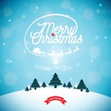 Merry Christmas illustration with typography and ornament decoration on winter landscape background. Vector Christmas Stock Images