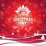 Merry Christmas illustration with typography and ornament decoration on winter landscape background. Vector Christmas Royalty Free Stock Images