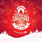 Merry Christmas illustration with typography and ornament decoration on winter landscape background. Vector Christmas Stock Photography