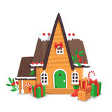 Merry Christmas illustration. Merry Christmas vector illustratio with gingerbread house isolated on white background Stock Photography