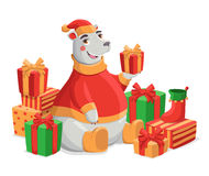 Merry Christmas illustration. Merry Christmas vector illustration. Polar bear in red knitted hat with gifts Royalty Free Stock Image