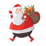 Merry Christmas illustration. Merry Christmas vector illustration. Santa Claus carrying sack full of gifts Royalty Free Stock Photo