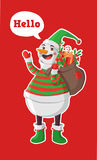 Merry Christmas illustration. Merry Christmas vector illustration. Snowman carrying sack full of gifts Royalty Free Stock Photography
