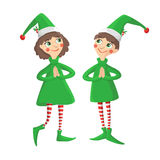 Merry Christmas illustration. Merry Christmas vector illustration. Two funny smiling elves Royalty Free Stock Photos