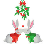 Merry Christmas illustration. Merry Christmas vector illustration. Two funny vector rabbits kissing under mistletoe Stock Images