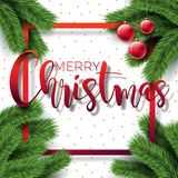 Merry Christmas Illustration on White Background with Typography  Stock Photo
