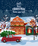 Merry Christmas illustration. Winter landscape.  Merry Christmas and Happy New Year greeting card Royalty Free Stock Photography