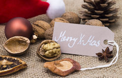 Merry Christmas. Image shows christmas decoration with greeting tag royalty free stock images