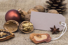 Merry Christmas. Image shows christmas decoration with greeting tag royalty free stock photography