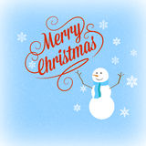 Merry Christmas. Christmas image with merry christmas wishes and snowman on blue background with snow and flakes Royalty Free Stock Photography