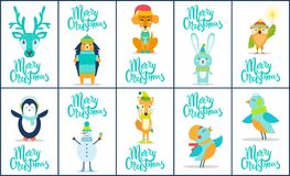 Merry Christmas Images Animal Vector Illustration. Merry Christmas, images of animals, such as deer and penguin, birds and rabbit, dog and fox, and icon of Royalty Free Stock Images