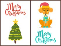 Merry Christmas Dog and Tree Vector Illustration. Merry Christmas, images of dog wearing red hat and knitted sweater and tree decorated with garlands and big Royalty Free Stock Photo