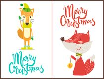 Merry Christmas Fox Set on Vector Illustration. Merry Christmas, images of fox wearing hat and gloves that match together, another one is playing with toy Stock Photos