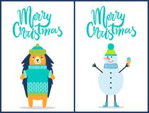 Merry Christmas Snowman on Vector Illustration. Merry Christmas, images of snowman wearing hat and scarf and holding ice-cream, hedgehog dressed in knitted Stock Images