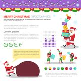 Merry Christmas Infographic Elements Set, Templates With Text Copy Space, Charts And Graphs Stock Photos