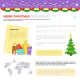 Merry Christmas Infographic Elements Set, Templates With Text Copy Space, Shopping Bags And World Map Royalty Free Stock Photos