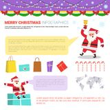 Merry Christmas Infographic Elements Set, Templates With Text Copy Space, World Map And Snata Holding Present Boxes Stock Images
