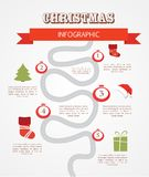 Merry christmas infographics, timeline with steps Stock Images