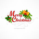Merry Christmas inscription with branch Royalty Free Stock Images