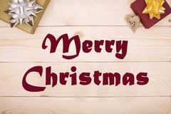 Merry Christmas inscription of dried flowers stock images