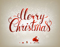 Merry Christmas inscription on the festive background Royalty Free Stock Images