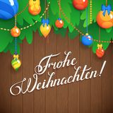 MERRY CHRISTMAS  inscription in German language hand lettering -- handmade calligraphy, vector Royalty Free Stock Image