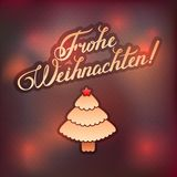 MERRY CHRISTMAS  inscription in German language hand lettering -- handmade calligraphy, vector Stock Photos