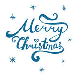 Merry Christmas inscription. Hand drawn lettering with curves. C. Alligraphy script on white background for your greeting card Stock Photos