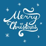 Merry Christmas inscription. Hand drawn lettering with curves.. Merry Christmas inscription. Hand drawn lettering with curves. Calligraphy script on blue Royalty Free Stock Photos