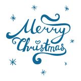 Merry Christmas inscription. Hand drawn lettering with curves.. Calligraphy script on white background for your greeting card Royalty Free Stock Image