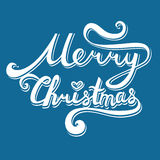 Merry Christmas inscription. Hand drawn lettering with curves. v. Olumetric calligraphy script on blue background for your greeting card Stock Image