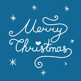 Merry Christmas inscription. Linear hand drawn lettering with cu. Rves. Calligraphy script on blue background for your greeting card Stock Photo