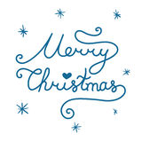 Merry Christmas inscription. Linear hand drawn lettering with cu. Rves. Calligraphy script on white background for your greeting card Stock Images