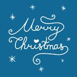 Merry Christmas inscription. Linear hand drawn lettering. With curves. Calligraphy script on blue background for your greeting card Royalty Free Stock Photo