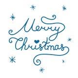 Merry Christmas inscription. Linear hand drawn lettering. Merry Christmas inscription. Linear hand drawn lettering with curves. Calligraphy script on white Royalty Free Stock Photos