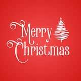 Merry Christmas inscription. Red background and white inked hand drawn tree. Merry Christmas inscription. Red background and white elements. Inked hand drawn Royalty Free Stock Photos
