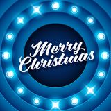 Merry Christmas inscription on retro banner with light bulbs Royalty Free Stock Image