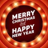 Merry Christmas inscription on retro banner with light bulbs Royalty Free Stock Photos