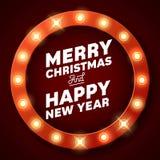 Merry Christmas inscription on retro banner with light bulbs Stock Image