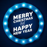 Merry Christmas inscription on retro banner with light bulbs Stock Images