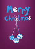 'Merry Christmas' inscription and three christmas white and blue balls, greeting card, postcard. Colorful paper craft design, cut out by scissors from paper Royalty Free Stock Photo