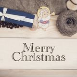 Merry Christmas inscription on a wooden background stock image